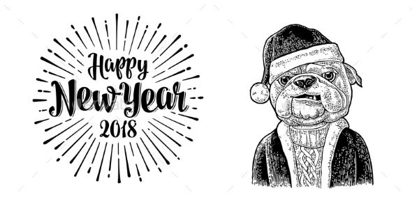 GraphicRiver Dog Santa Claus in Hat 20983725