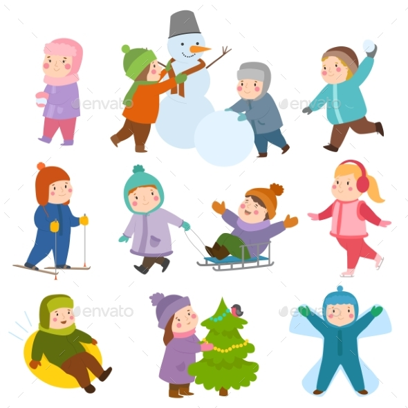 Kids Winter Christmas Games Playground Children - People Characters