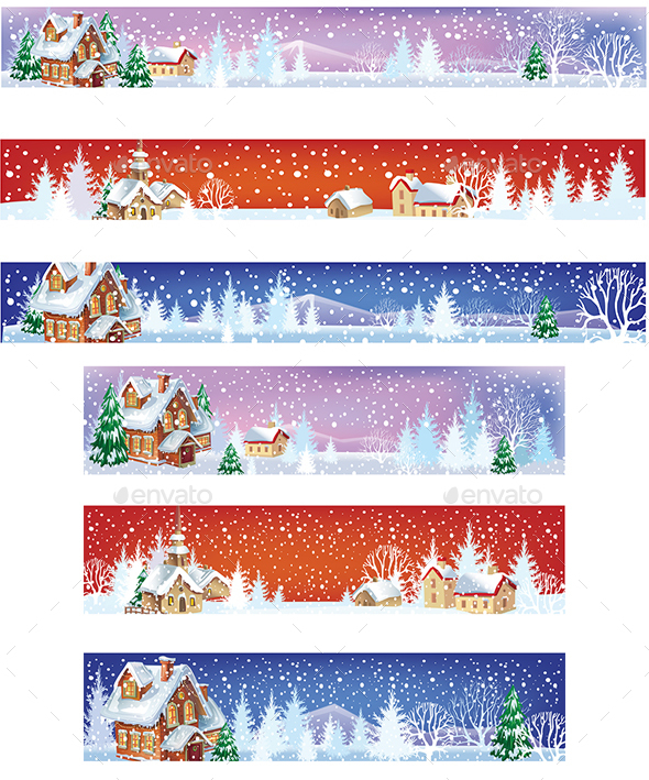GraphicRiver Set of Christmas Banners with Winter Landscapes 20983795
