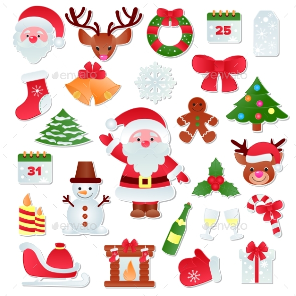 Christmas Vector Icons New Year Decoration - Christmas Seasons/Holidays