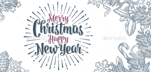 GraphicRiver Poster Horizontal Merry Christmas Happy New Year 20984008