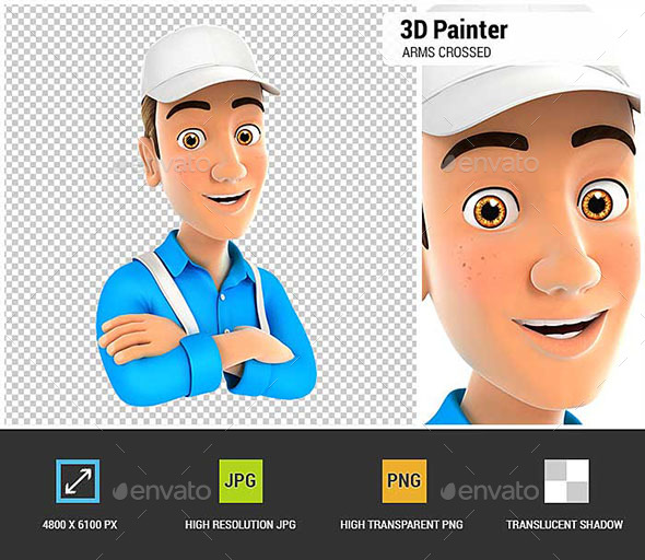 GraphicRiver 3D Painter with Arms Crossed 20984233