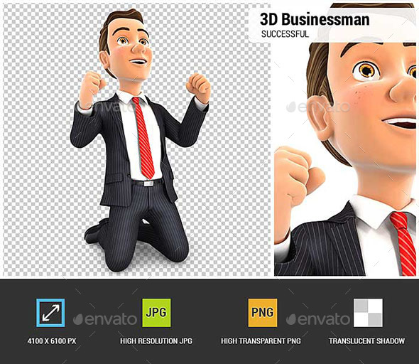 GraphicRiver 3D Successful Businessman on his Knees 20984237