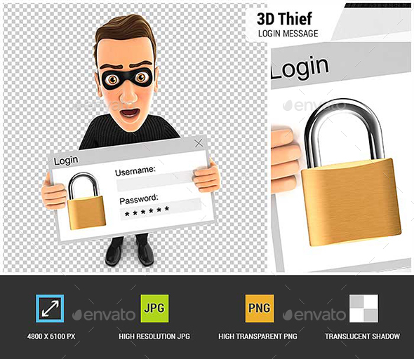 3D Thief Holding a Login Message - Characters 3D Renders