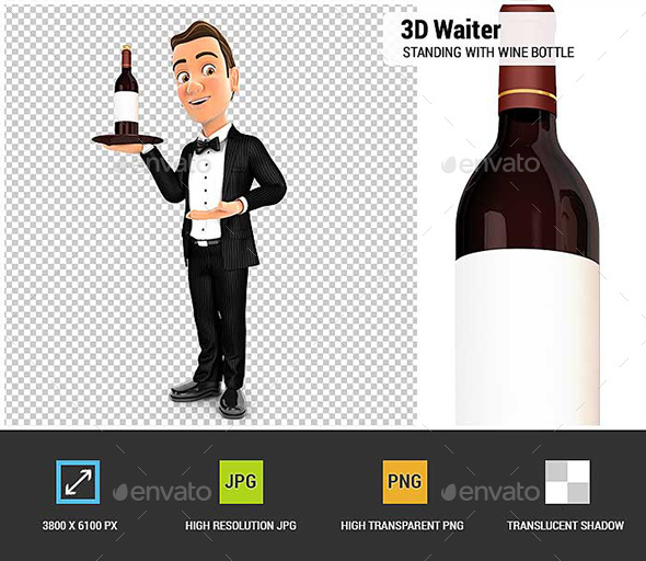 GraphicRiver 3D Waiter Standing with Red Wine Bottle 20984243
