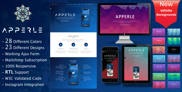 Apperle | App Landing Page - Technology Site Templates