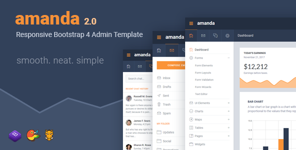 Amanda Responsive Bootstrap 4 Admin Template - Admin Templates Site Templates