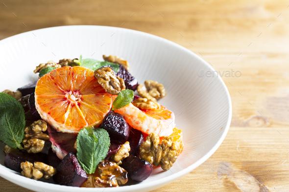 Orange Walnut Salad - Stock Photo - Images