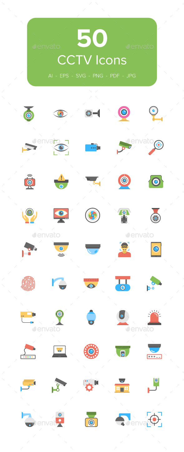 GraphicRiver 50 Flat CCTV Icons 20984568
