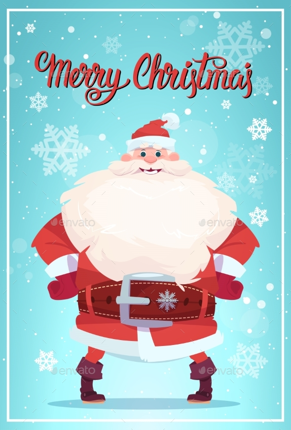 Merry Christmas Poster With Santa Claus Winter - Seasons/Holidays Conceptual