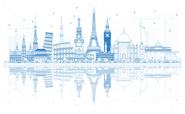 Outline Travel Concept Around the World with Famous International Landmarks. - Buildings Objects