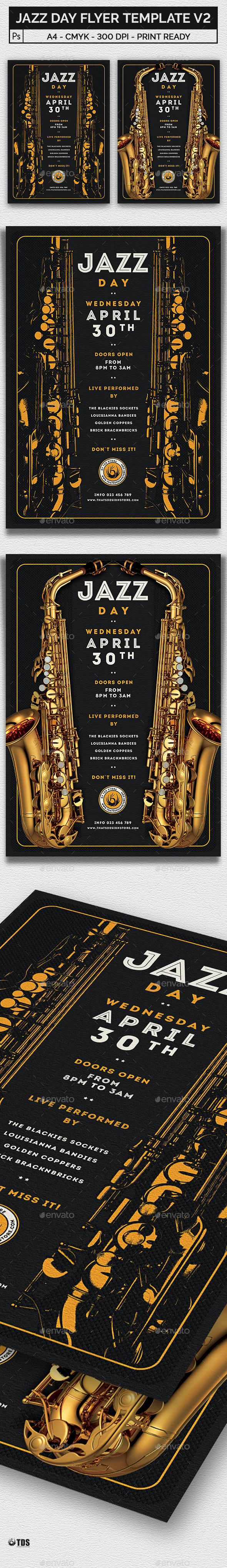 Jazz Day Flyer Template V2 - Concerts Events