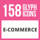 158 E-Commerce Glyph Icons - GraphicRiver Item for Sale
