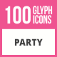 100 Party Glyph Icons - GraphicRiver Item for Sale