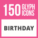150 Birthday Glyph Icons - GraphicRiver Item for Sale