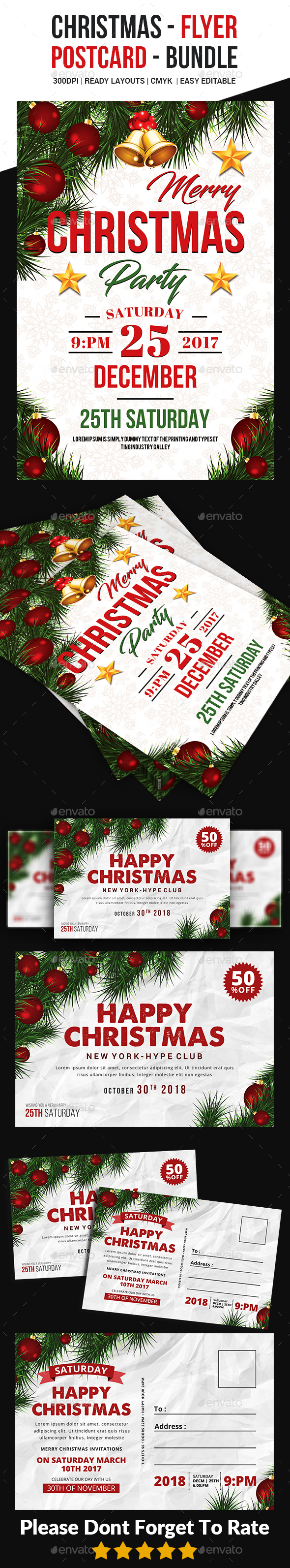 GraphicRiver Christmas Flyer PostCard Bundle 20985142