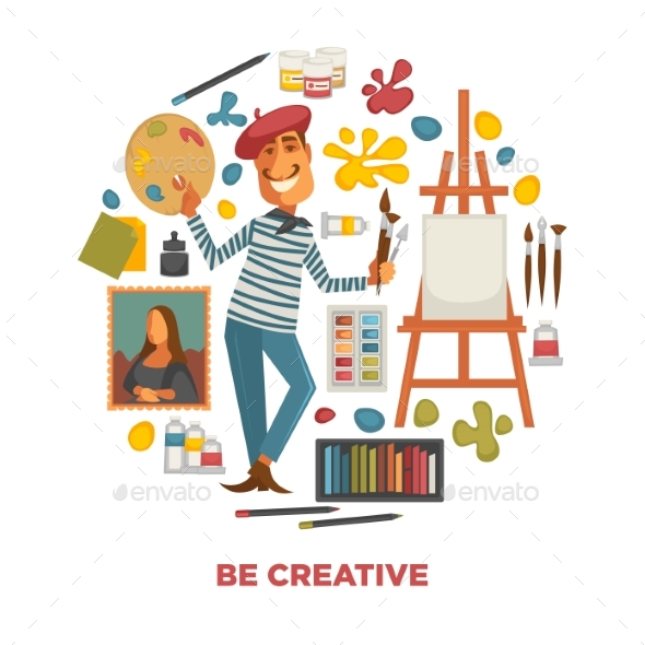 Creative Poster with Artist and Tools To Paint - Miscellaneous Vectors