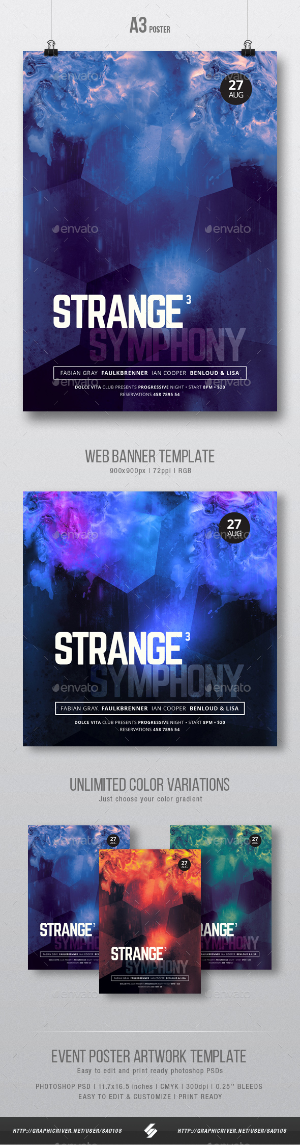 Strange Symphony vol.3 - Progressive Party Flyer / Poster Artwork Template A3 - Clubs & Parties Events
