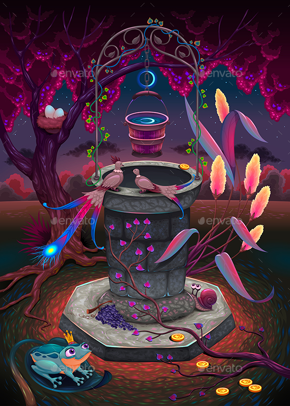 GraphicRiver The Wishing Well in a Magic Garden 20985503