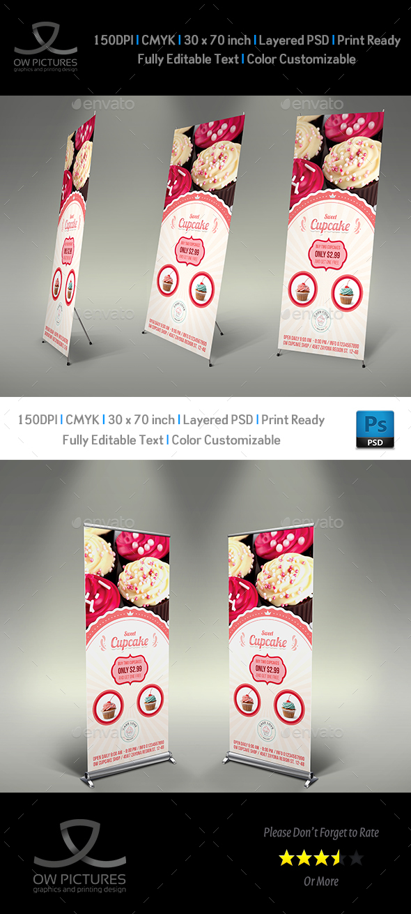 Cupcake Signage Banner Roll Up Template - Signage Print Templates