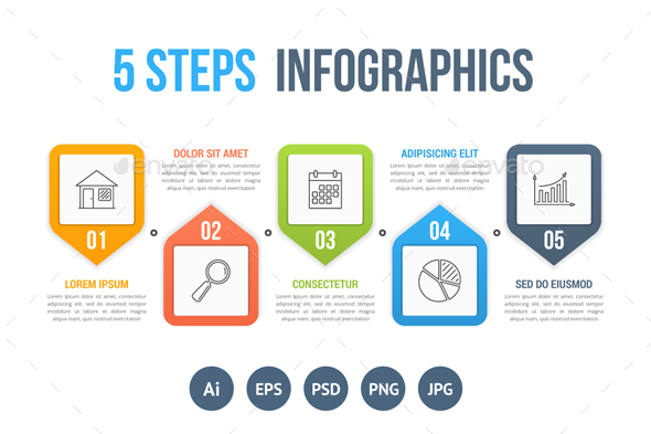 Process Diagram with Five Steps - Infographics