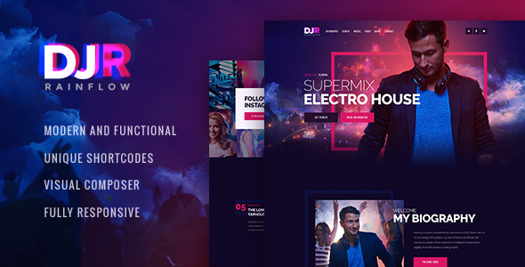 DJ Rainflow | A Music Band & Musician WordPress Theme - Music and Bands Entertainment
