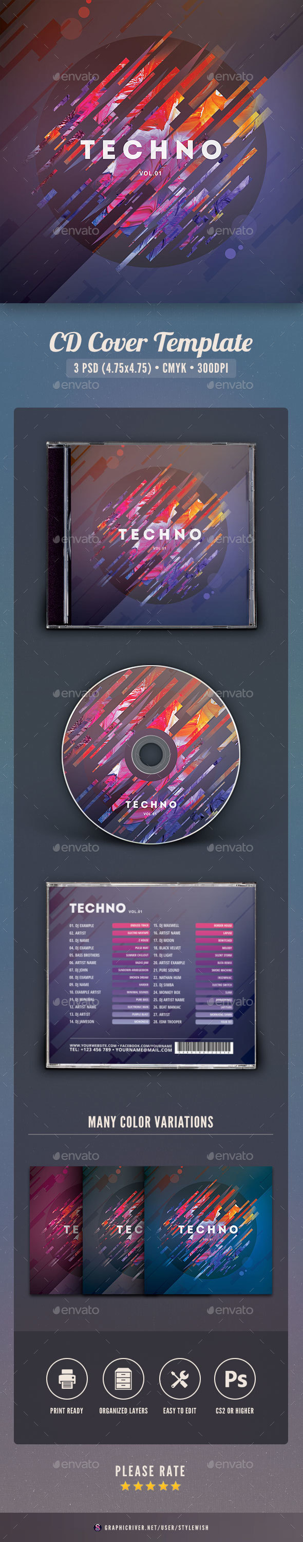 GraphicRiver Techno CD Cover Artwork 20985786