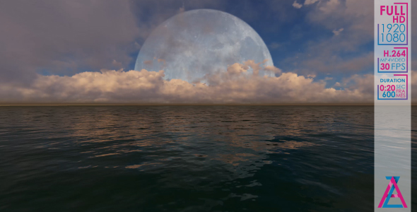 VideoHive Big Moon Over The Ocean 20985965