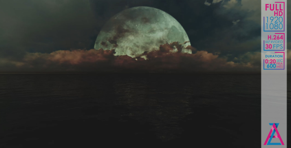 VideoHive Big Moon Over The Ocean 20985974