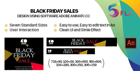 Black Friday Sales Banners HTML5 (Animate CC) - CodeCanyon Item for Sale