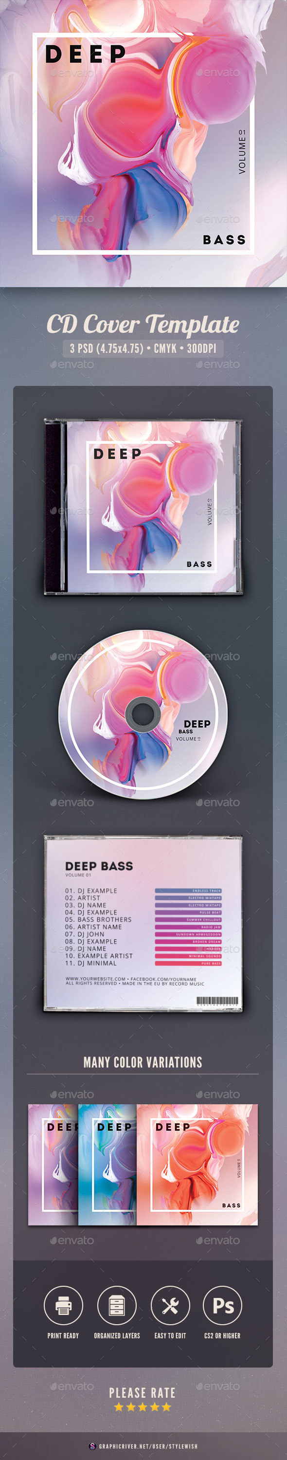 Deep Bass CD Cover Artwork - CD & DVD Artwork Print Templates