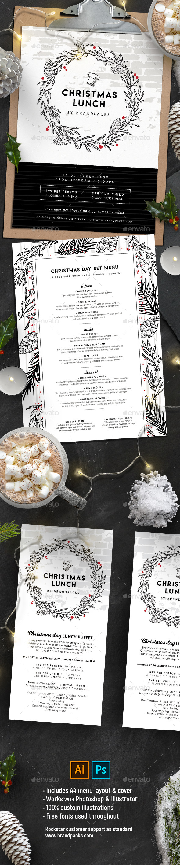 GraphicRiver Christmas Menu Templates 20986121