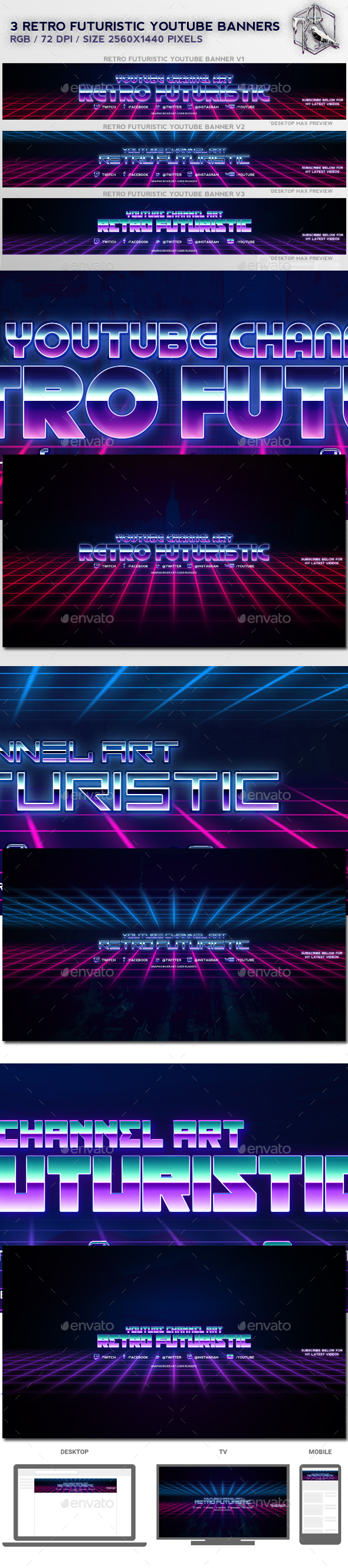 GraphicRiver 3 Retro Futuristic Youtube Banners 20986135