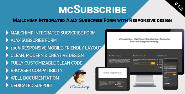 MCsubscribe - Mailchimp Integrated Ajax Subscribe Form with Responsive design - CodeCanyon Item for Sale