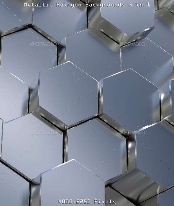 Metallic Hexagon Backgrounds - 3D Backgrounds