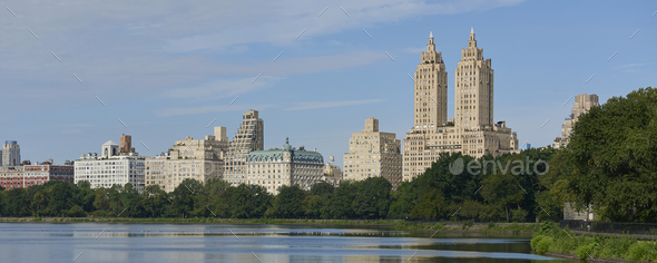 Central park lake, New York city - Stock Photo - Images