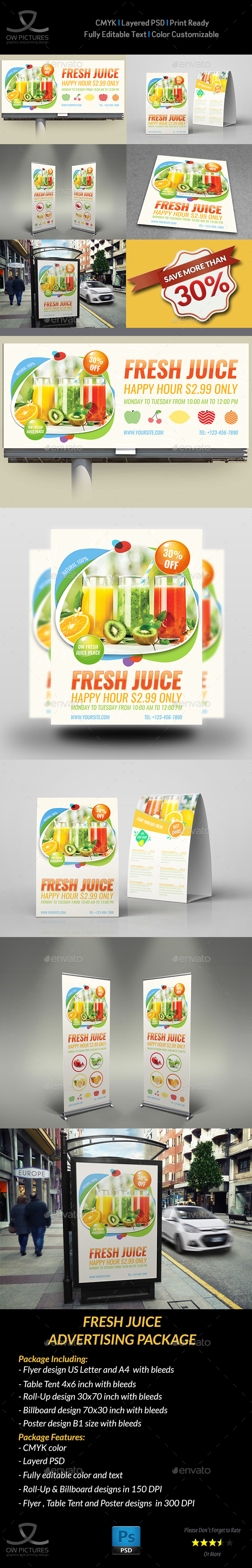GraphicRiver Fresh Juice Advertising Bundle 20986888