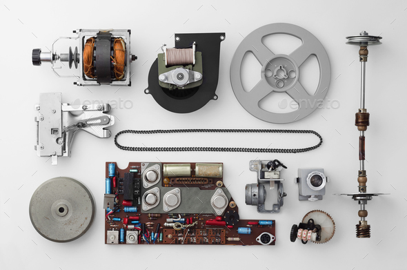 Parts of a vintage film projector - Stock Photo - Images