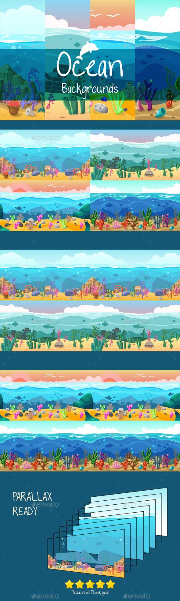 GraphicRiver Parallax Ocean 2D Backgrounds 20986998
