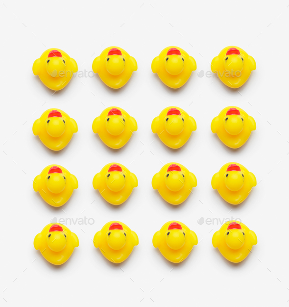 Collection of yellow rubber ducks - Stock Photo - Images