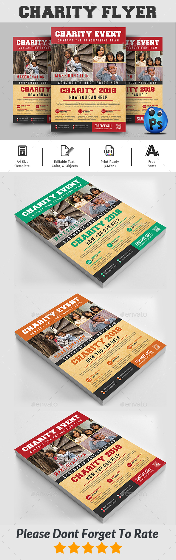 GraphicRiver Charity Fundraising Flyer Templates 20987403