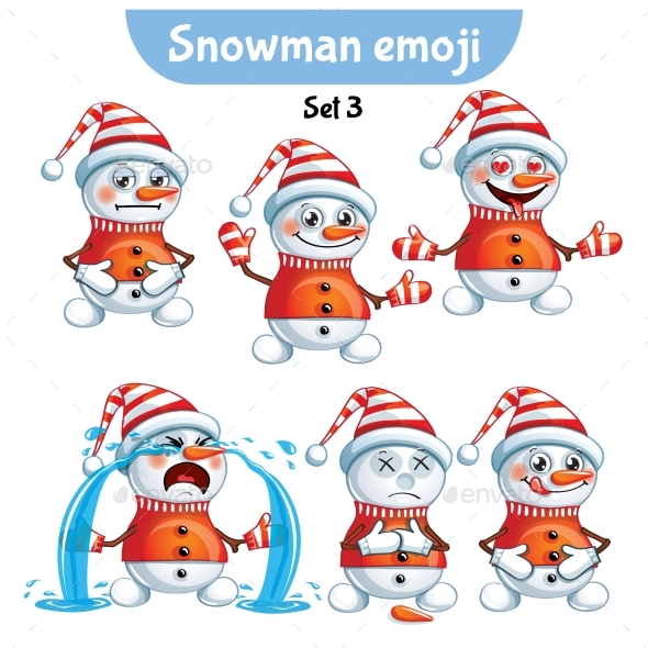 GraphicRiver Set of Snowman Characters Set 3 20987575