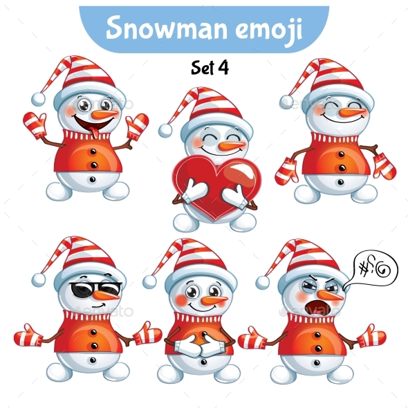 Set of Snowman Characters Set 4 - Miscellaneous Characters