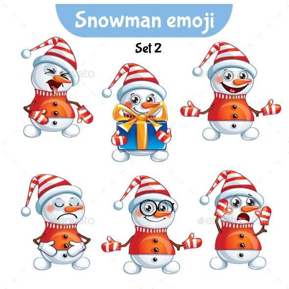 GraphicRiver Set of Snowman Characters Set 2 20987580