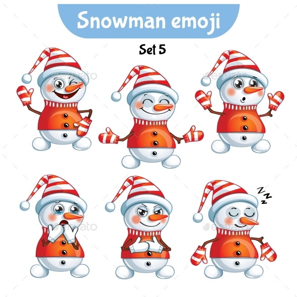 GraphicRiver Set of Snowman Characters Set 5 20987583