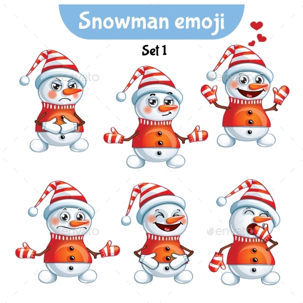 Set of Snowman Characters Set 1 - Miscellaneous Characters