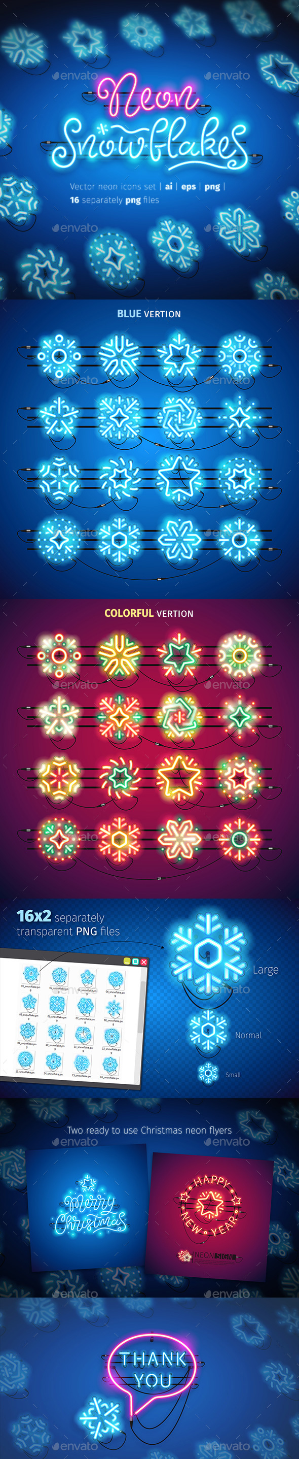 Christmas Colorful Neon Snowflakes Icons - Seasonal Icons