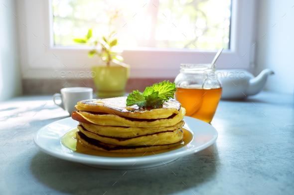 Sweet pancakes heap - Stock Photo - Images
