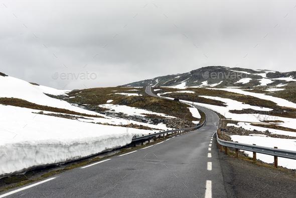 Famous Aurlandsvegen mountain road - Stock Photo - Images