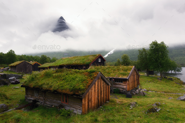 Norwegian grass roof old house - Stock Photo - Images